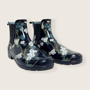 Hunter Refined Blossom Print Chelsea Rain Boots Navy